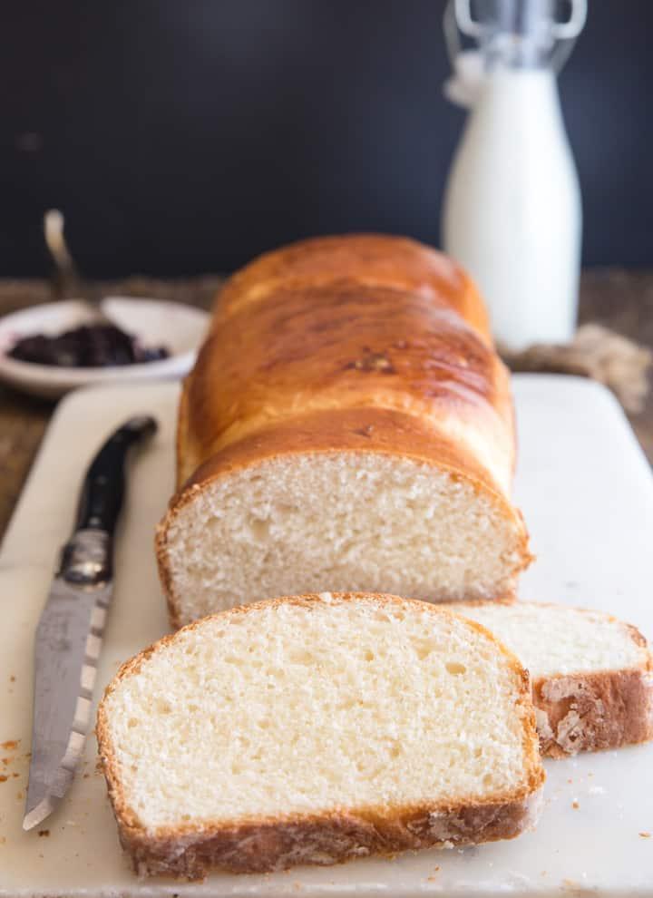 milk bread on a white board