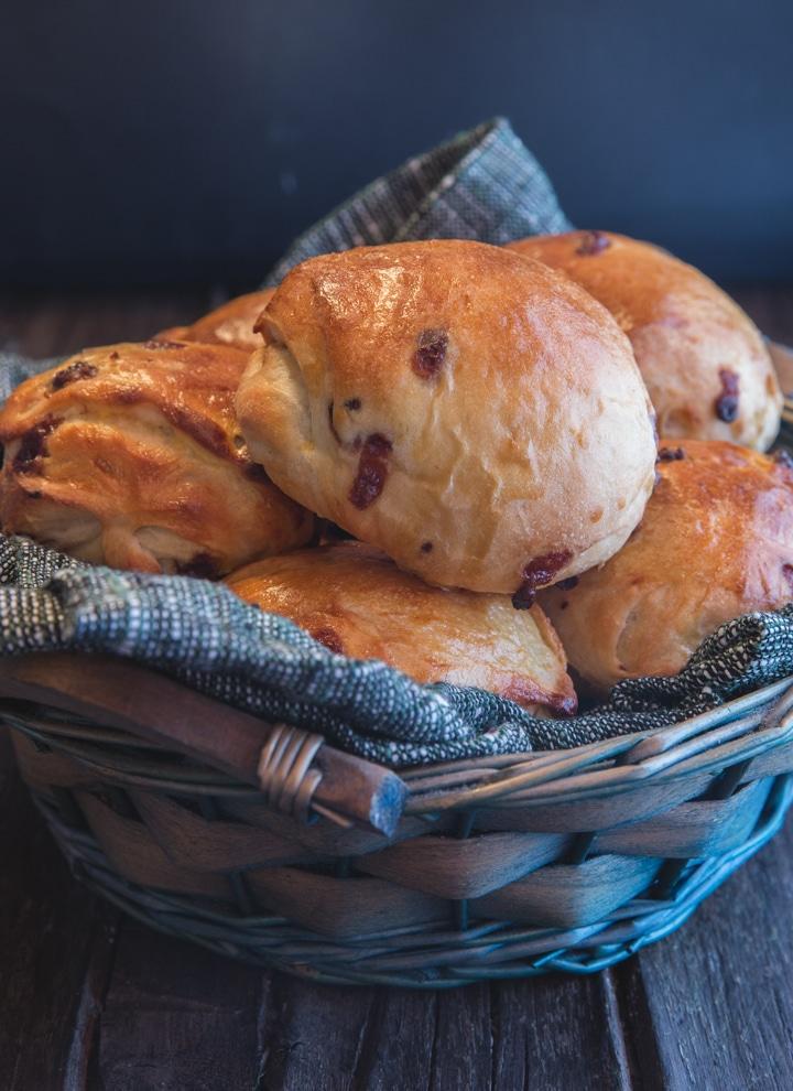 brioche buns in a blue basket