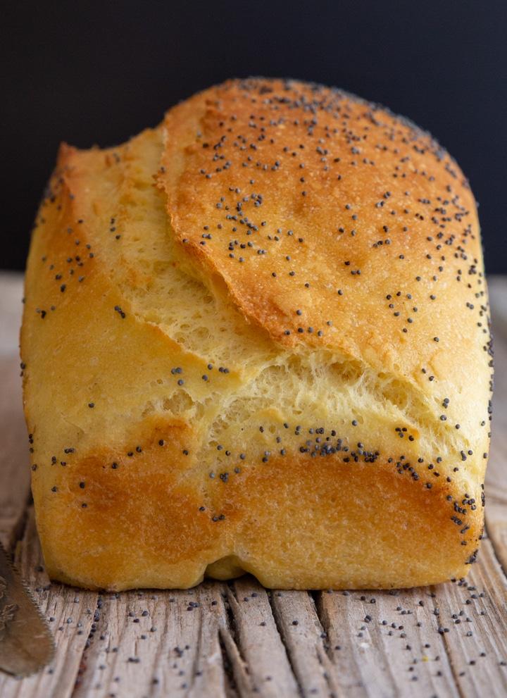 loaf of semolina bread on a wooden board
