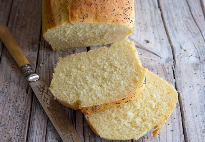 semolina bread with 2 slices cut