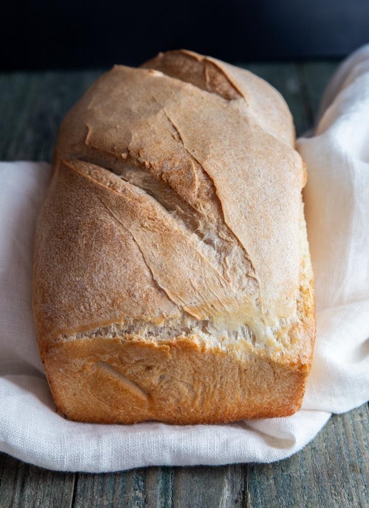 yeast starter bread on a white napkin