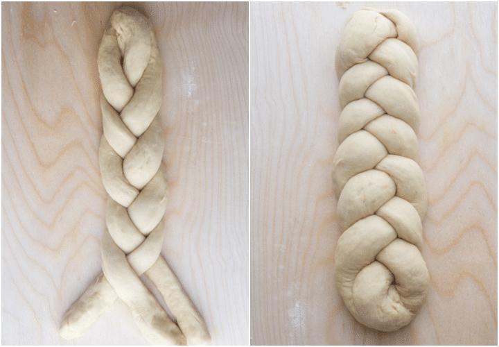 forming a braid.