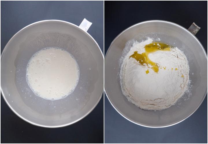 The sourdough, milk & sugar in the mixing bowl, flour, oil & salt added.