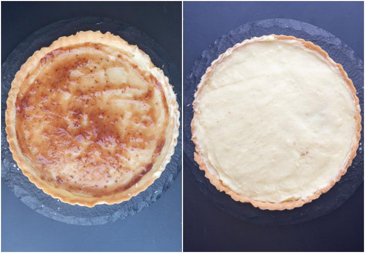 Jam spread on the crust and the cream spread.
