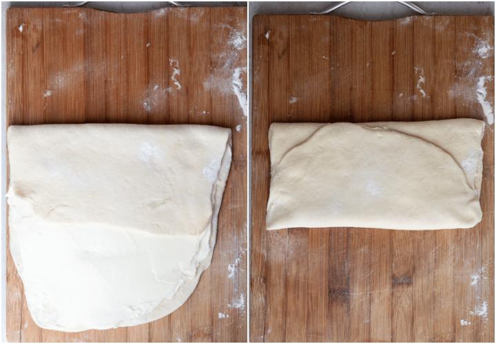 Folding the dough like an envelope.