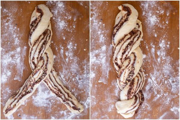 The babka dough twisted to form a braid.